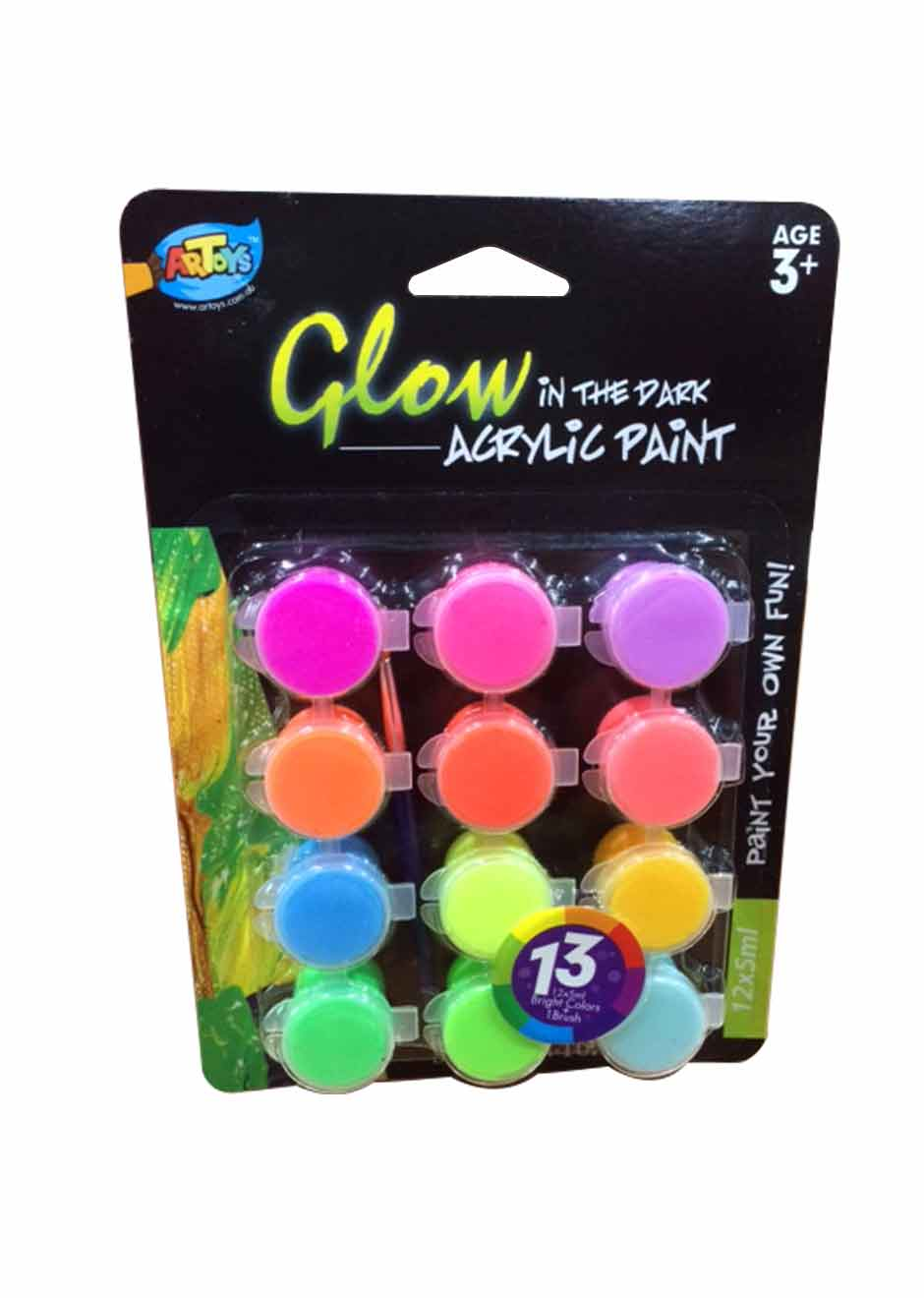 Artoys acrylic paint glow in the dark 12 colors toko - Glow in the dark paint colors ...